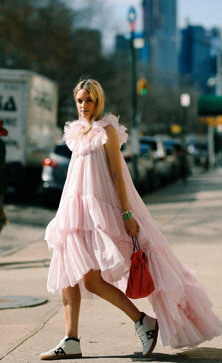02306bc03f pink ruffle dress street style