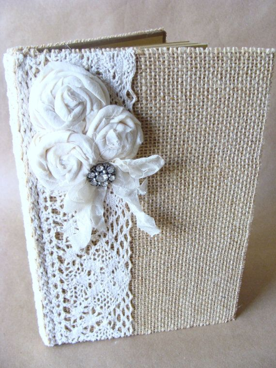 Burlap and Lace Journal Diary Notebook Guestbook Prayer Journal Tattered Shabby handmade Fabric Rolled Roses