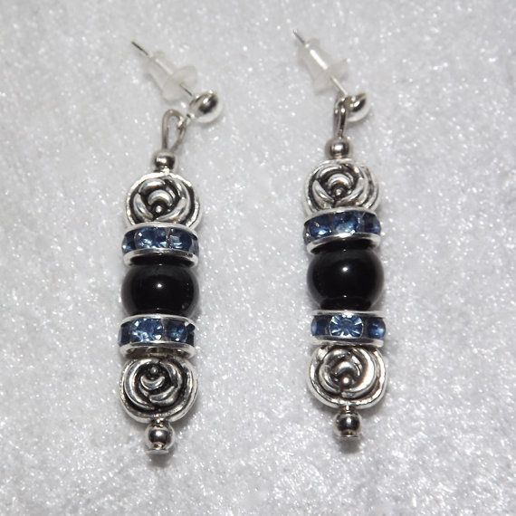 Earrings  Collared Obsidian Rose  Blue  Free UK by KasumiCrafts
