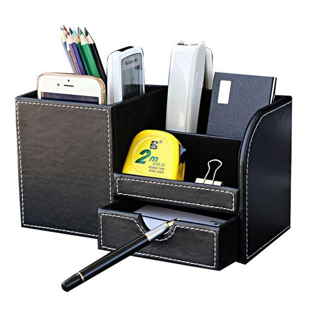 Multi-funcional organizador papelaria mesa de couro de madeira caixa de armazenamento de caneta titular caixa de lápis caso