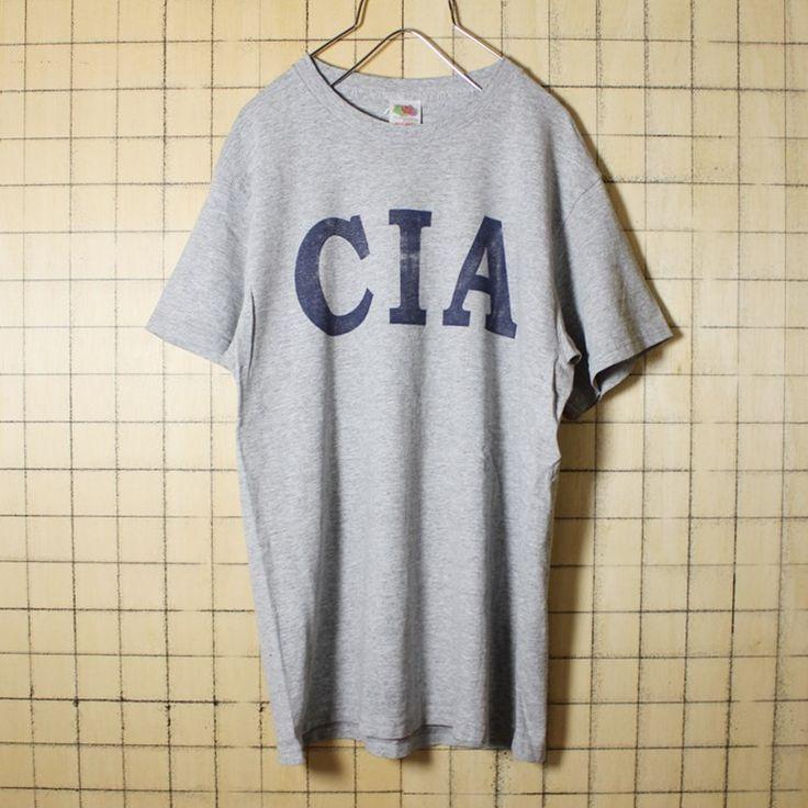 古着 霜降り 杢 グレー プリント Tシャツ 半袖 CIA メンズM FRUIT OF THE LOOM アメリカ古着