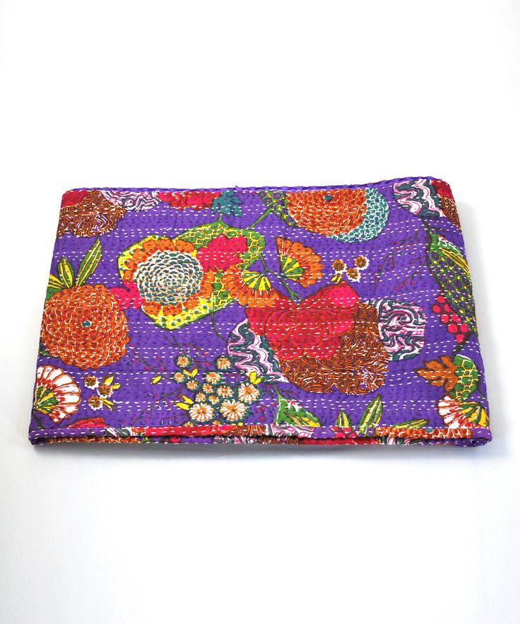 Purple Tropical Kantha Quilt   Daily deals for moms, babies and kids