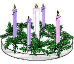 How to make your own advent wreath with styrofoam (base), evergreen branches (can be used from your Christmas tree) pinecones and candles. Plus what color candles to get and their meaning with corresponding bible verse.
