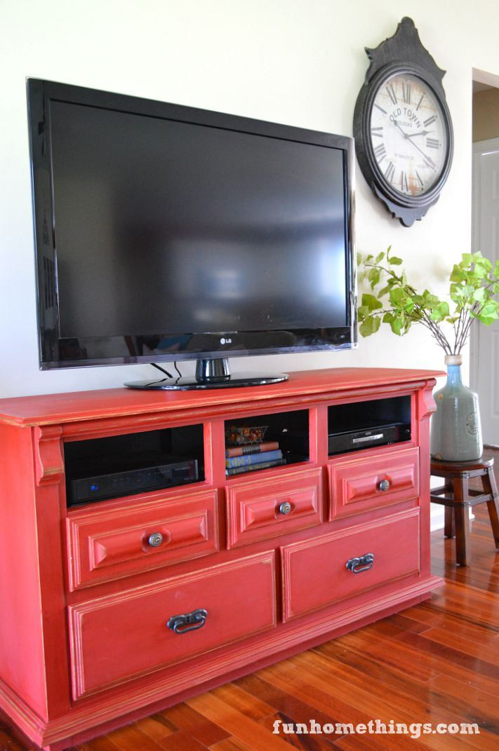 Living Room Makeover Dresser to Media Center