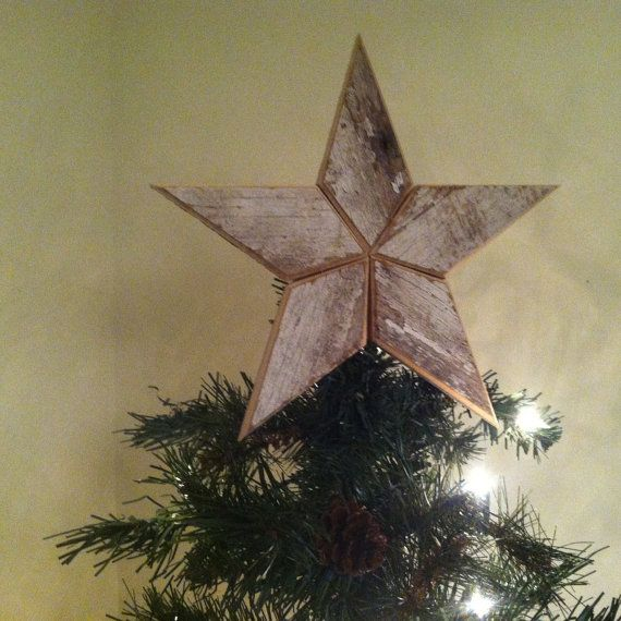 White Star Tree Topper Christmas Decoration- 10 inch star made from white reclaimed wood