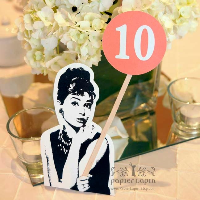 Self-standing table number in retro theme