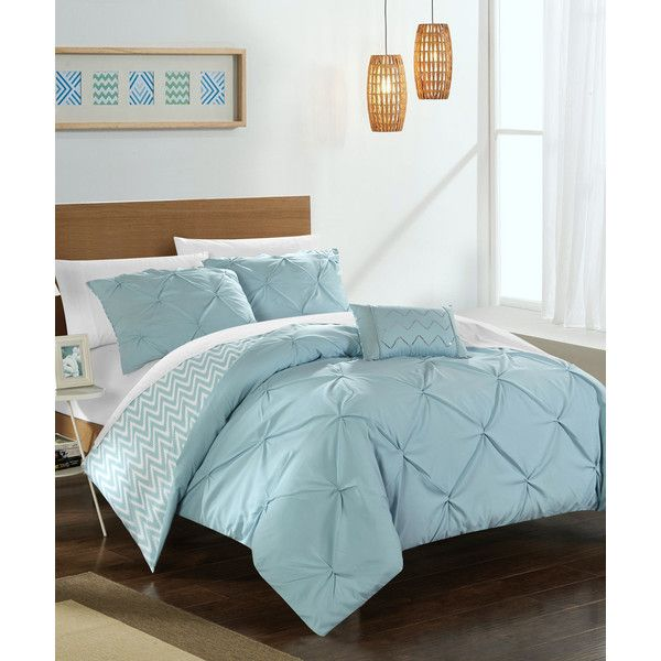 Chic Home Design Blue Esmeralda Comforter Set ($70) ❤ liked on Polyvore featuring home, bed & bath, bedding, comforters, blue pillow shams, twin ruffle comforter, ruffle comforter set, twin bedding and blue comforter sets