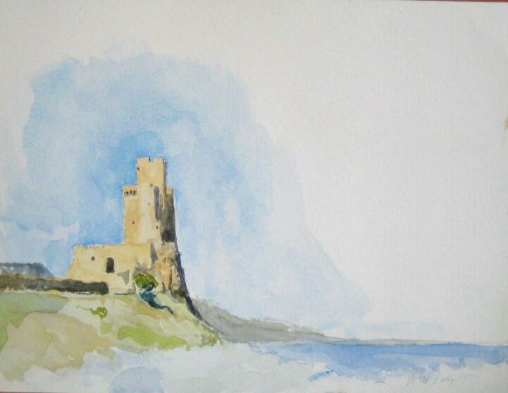 Calabrian Castle, watercolor, 20cm x 30cm by Matthew James Collins