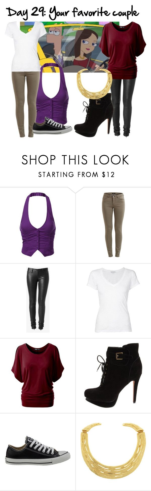 """""""Day 29: Ferb and Vanessa - 30 Day DisneyBound Challenge"""" by dutchveertje ❤ liked on Polyvore featuring J.TOMSON, VILA, Hudson Jeans, James Perse, Sam Edelman, Converse and Kenneth Jay Lane"""