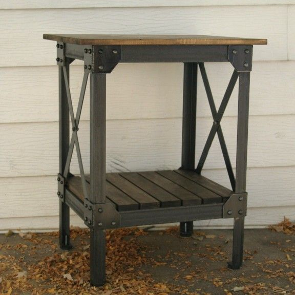 Handmade scrap metal and wood table by jreal on Etsy, $530.00