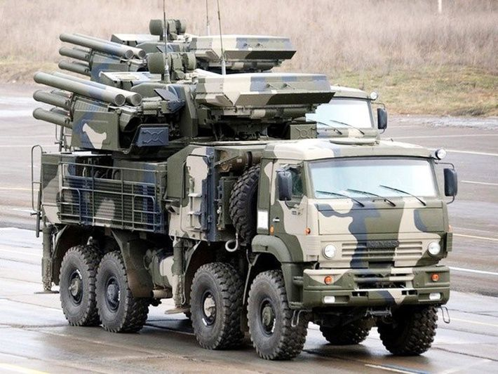 Pantsir-S1 (Russian: Панцирь-С1. - NATO reporting name: SA-22 Greyhound.) is a combined short to medium range surface-to-air missile and anti-aircraft artillery weapon system produced by KBP of Tula, Russia. The system is a further development of 2K22 Tunguska and represents the latest air defence technology by using phased array radars for both target acquisition and tracking.