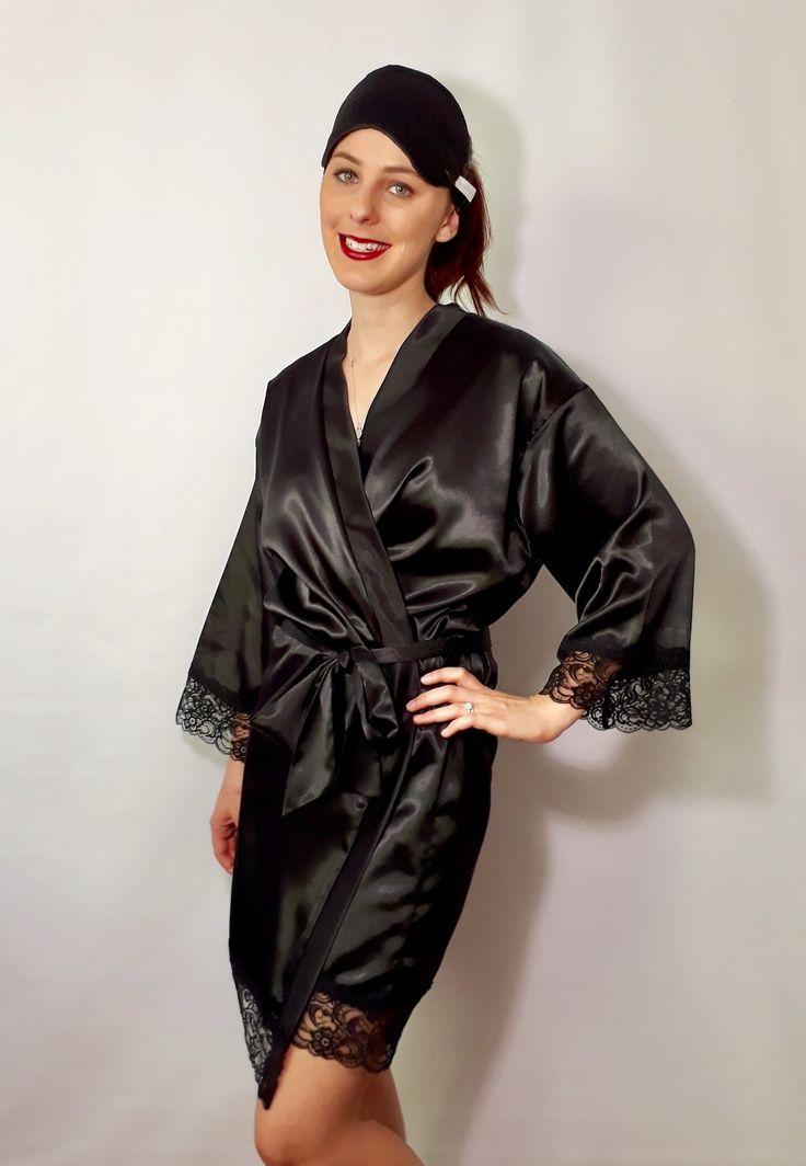 'Ebony' Satin Robe and Sleep Mask with black lace trim. www.angiejcollection.com.au