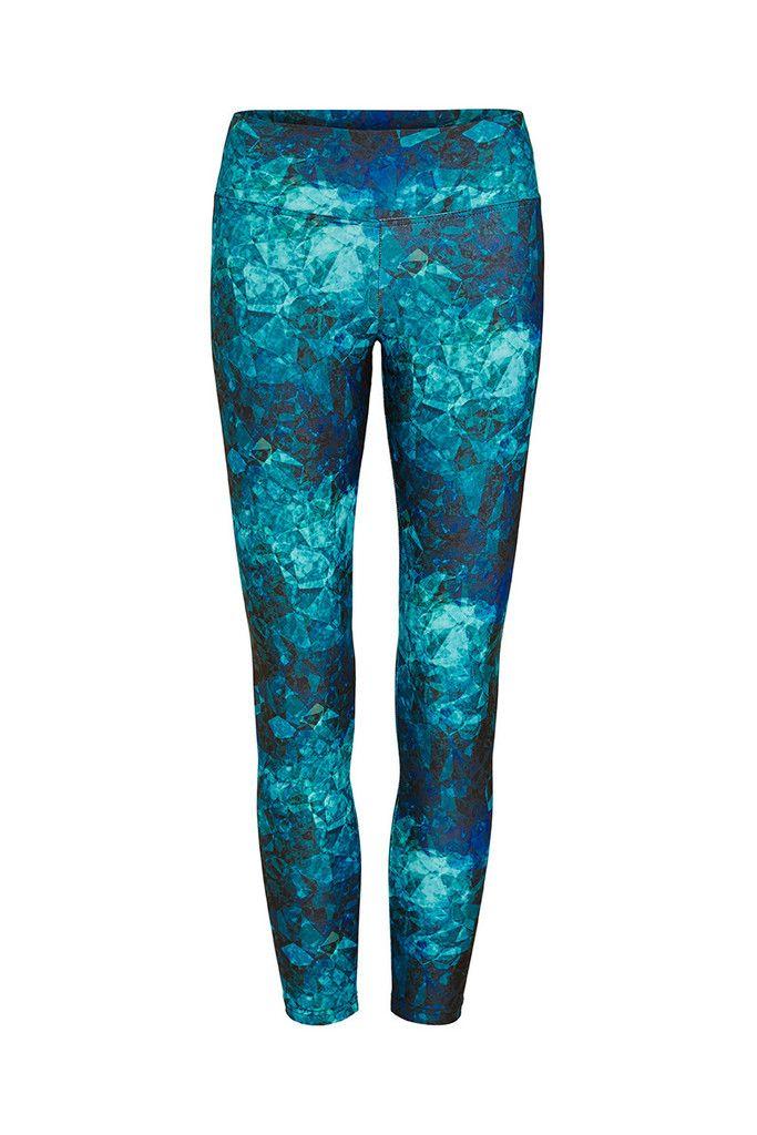 Blue Crystals Printed Yoga Legging - 3/4 – Dharma Bums Yoga and Activewear