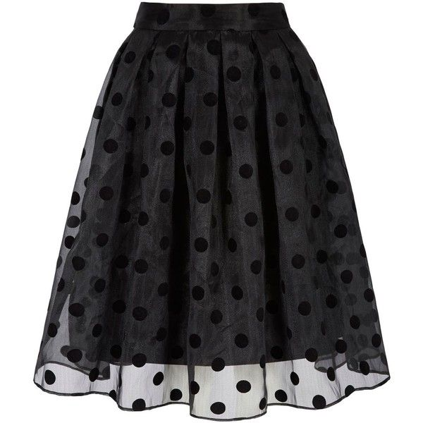 Yumi Polka Dot Midi Skirt ($53) ❤ liked on Polyvore featuring skirts, bottoms, black, women, polka dot skirt, high waisted knee length skirt, party skirts, black knee length skirt and sheer black skirt