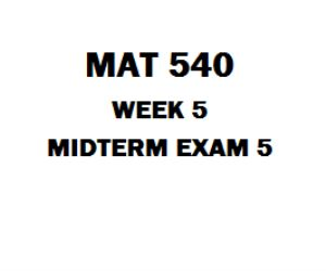 MAT 540 Midterm Exam 5 1. Deterministic techniques assume that no uncertainty exists in model parameters. 2. A continuous random variable may assume only integer values within a given interval. 3. An inspector correctly identifies defective products 90% of the time. For the next 10 products, the probability that he makes fewer than 2 incorrect inspections is 0.736. 4. A decision tree is a diagram consisting of circles decision nodes, square probability nodes, and branches.