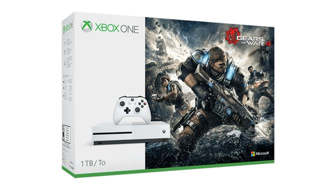 White Xbox One S Gears of War 4 Bundle Includes 1 TB Hard Drive