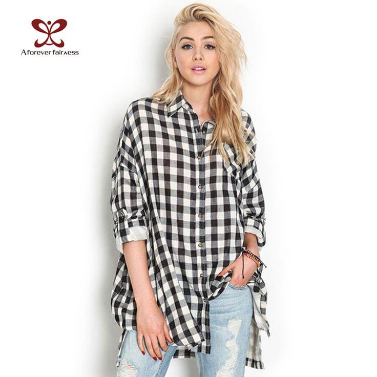 Women Tops Clothes 2016 Punk Style Long Sleeve Casual Long Black White Plaid Shirts Blouses Loose Plus Size Blusas Femininas 429