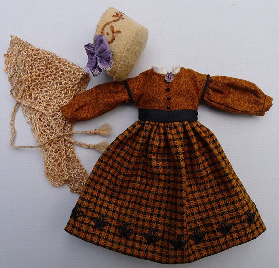 Brown Civil War Era Outfit for Hitty Dolls by Islecroft