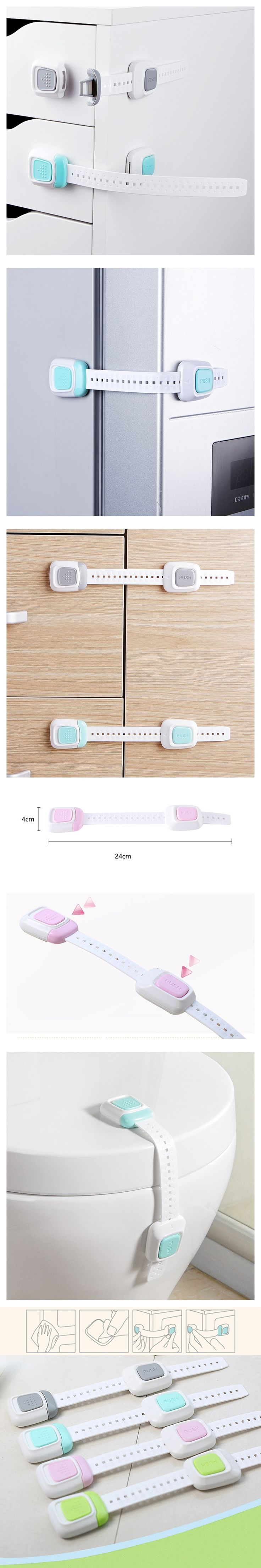 12Pcs Multi-function Double Button Children 's Security Lock Baby Protective Equipment Anti-folder Hand Refrigerator Lock