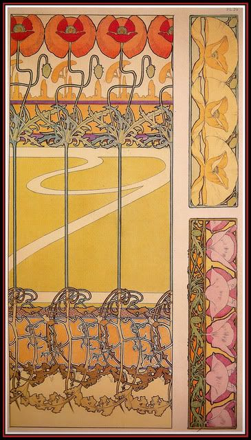 Color lithograph of poppies by Alphonse Mucha, c 1902 from Alphonse Mucha: The Sprit of Art Nouveau by V. Arwas