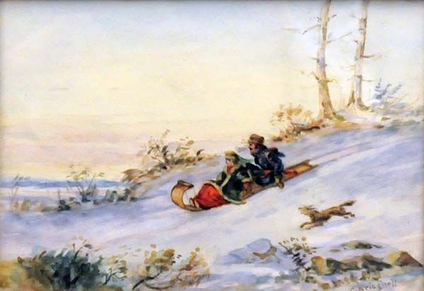 Cornelius KRIEGHOFF - Tobogganing (1855) Cornélius Krieghoff Follow the biggest painting board on Pinterest: www.pinterest.com/atelierbeauvoir