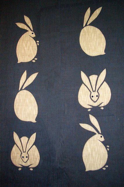 Rabbit on curtain