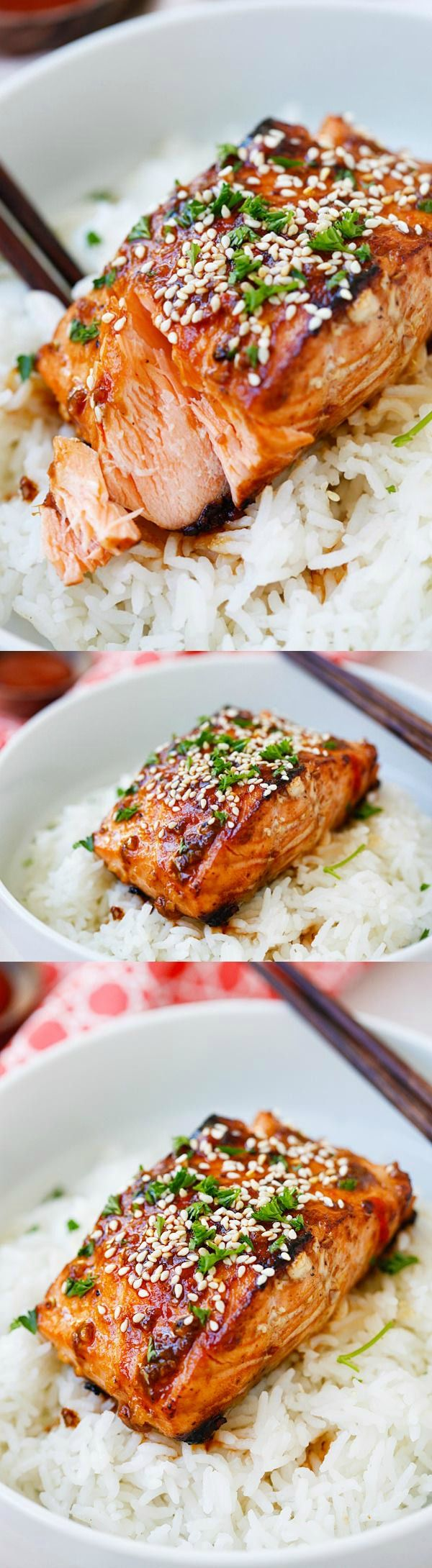 Honey Sriracha Salmon - easy, spicy, sweet, and savory, this glazed salmon recipe is awesome | rasamalaysia.com #mothersday