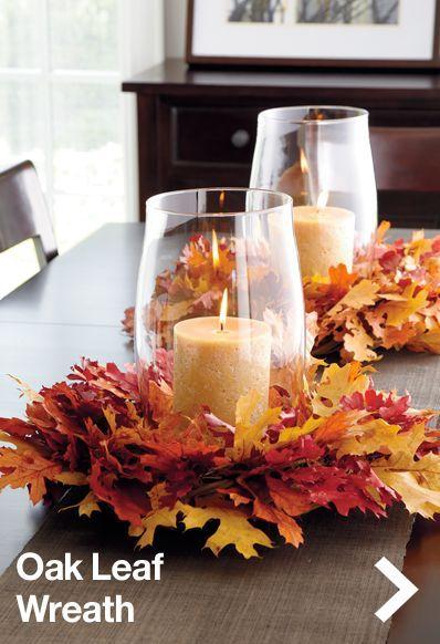 Oak leaf wreath with candle holder. Great centerpiece idea!