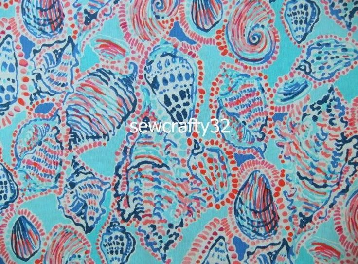 """Lilly Pulitzer Shell Me About It Cotton Dobby Fabric  BTY x 57"""""""