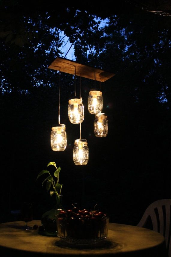 Mason Jar Lighting Mason Jar ChandelierMason Jar Lighting, Wedding Ideas, Night Lights, Jar Lights, Outdoor Area, Mason Jars Lights, Outdoor Lights, Mason Jars Chandeliers, Mason Jar Chandelier