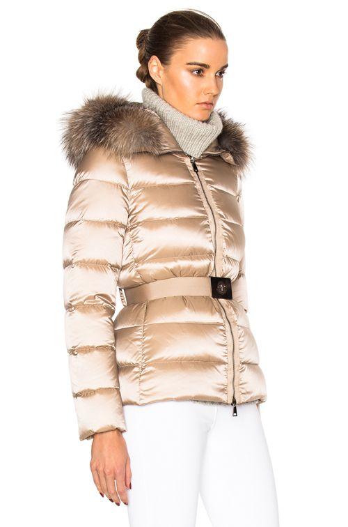 Moncler Tatie Giubbotto Jacket With Fox Fur - Taupe | FWRD ...