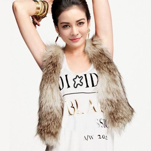 Women Winter Short Vest Sleeveless Faux Fur Waistcoat Gilet Outwear