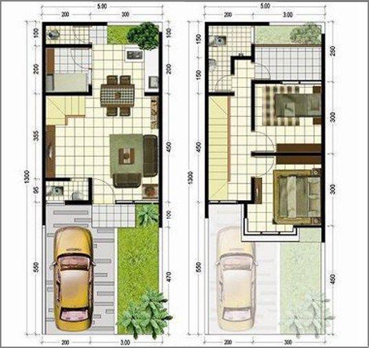 Gambar Denah Rumah Minimalis 2 Lantai Modern 6
