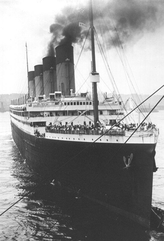 RMS Olympic. RMS Titanic's Sister Ship. This Is A Nice Front View Of The Ship.