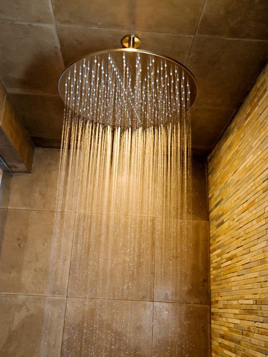 accent wall....a waterfall shower head is a most have #ShowerHeads ...