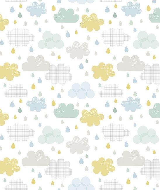 Papier peint bébé gouttes et nuages