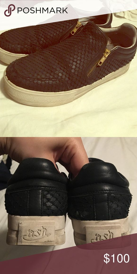 Ash sneakers Black leather sneakers with gold zippers Ash Shoes Sneakers