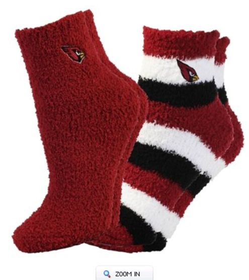 For Bare Feet Arizona Cardinals Women's Slippers 2-Pack Socks. #AZCardinals #NFLFanStyle