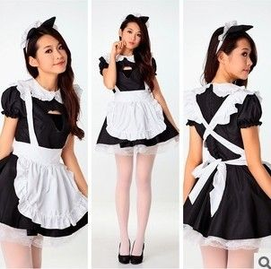 The new cafe waiter serving black and white maid outfit Japanese kawaii anime cat dress uniforms maid service
