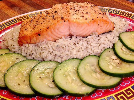 Broiled Salmon, Thai Cucumber Basil Salad & Furikaki Rice | Recipes ...