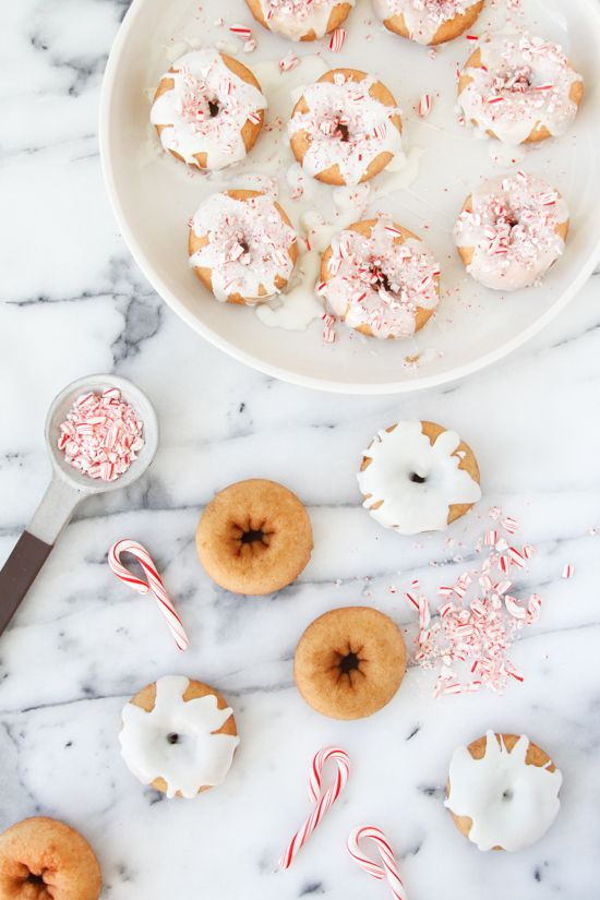 Who wouldn't want to wake up to candy cane-topped mini doughnuts?