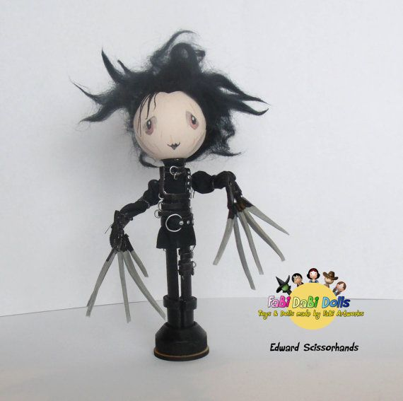 Edward Scissor hands peg doll as depicted by Johnny Depp in the famous tim burton movie