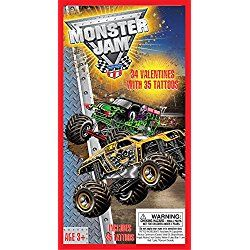 Paper Magic 34CT Deluxe - Tattoos Monster Jam Kids Classroom Valentine Exchange Cards