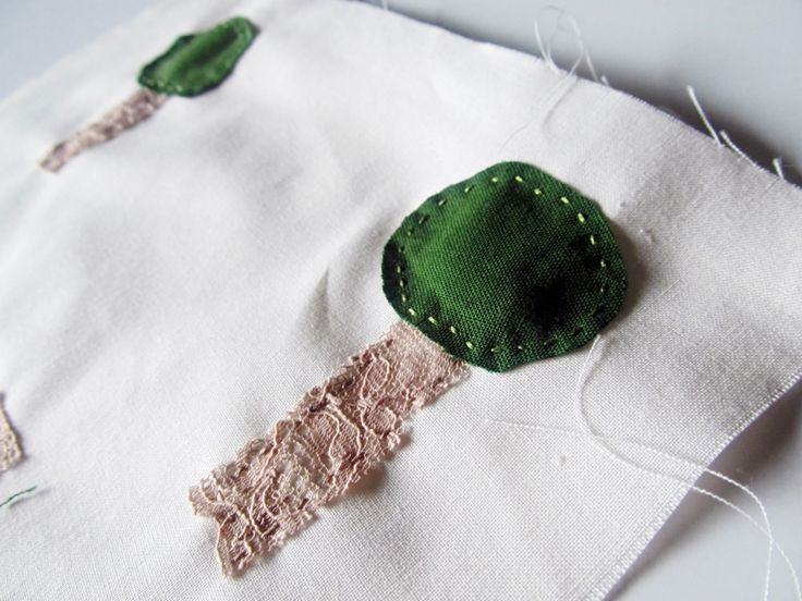 Embroidered Trees - Brooches in the making using reclaimed materials. By Tupsy Turvy Designs