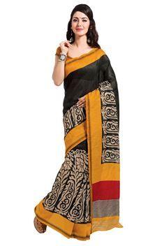 Candid Black,Orange Color Printed Silk Saree