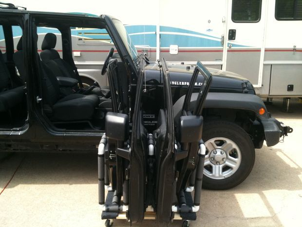 Jeep Wrangler door storage cart