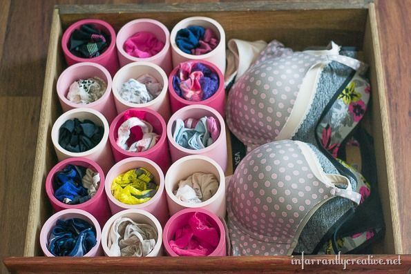 Storing undies in cute compartments helps you instantly see every pair you own. Plus the painted pipes offer an extra bit of fun to your everyday routine. Get the tutorial at Infarrantly Creative »  - GoodHousekeeping.com