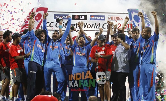 Indian Cricket Team after winning WC 2011