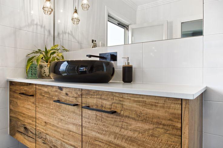 Marri Timber vanity with Caesarstone Sleek Concrete top