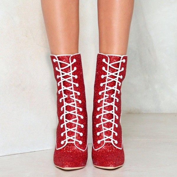 00f189ec21a Red Glitter Chunky Heel Boots Lace up Ankle Booties in 2019 ...
